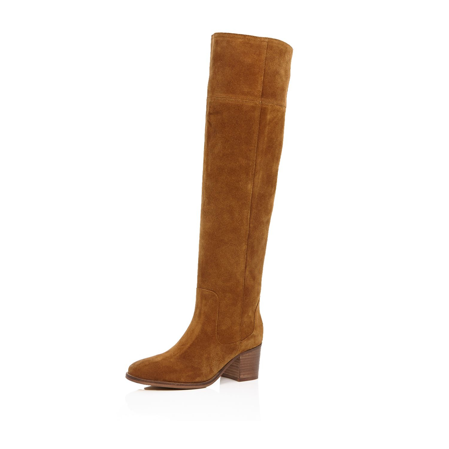 449bec56210 River Island Tan Brown Suede Knee High Boots