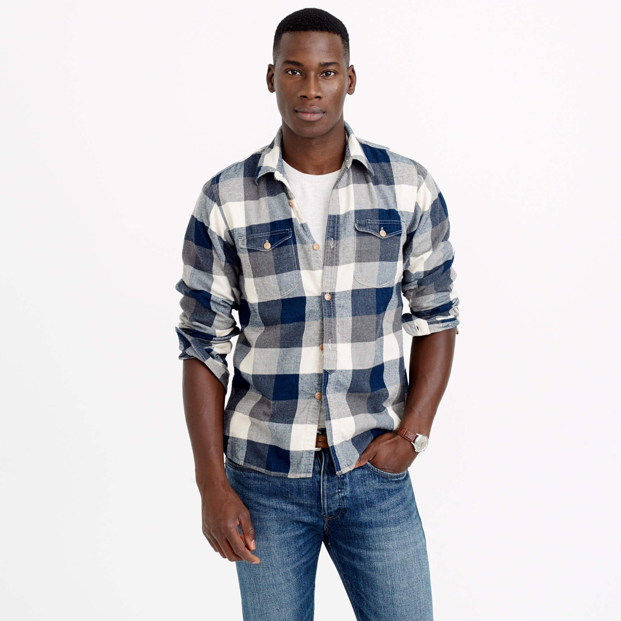 Shuttle notes indigo flannel shirt in blue for men for J crew mens outfits