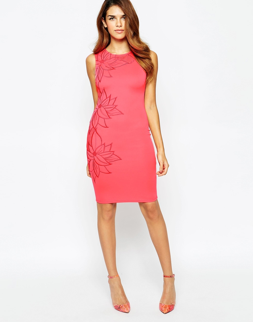 Lipsy Michelle Keegan Loves Mesh Floral Embroidered Bodycon Dress In Pink Lyst