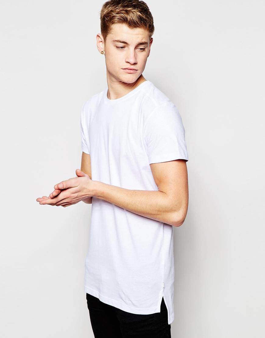 jack jones longline t shirt in white for men lyst. Black Bedroom Furniture Sets. Home Design Ideas