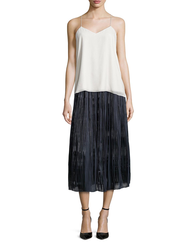 tibi pleated midi skirt in black lyst