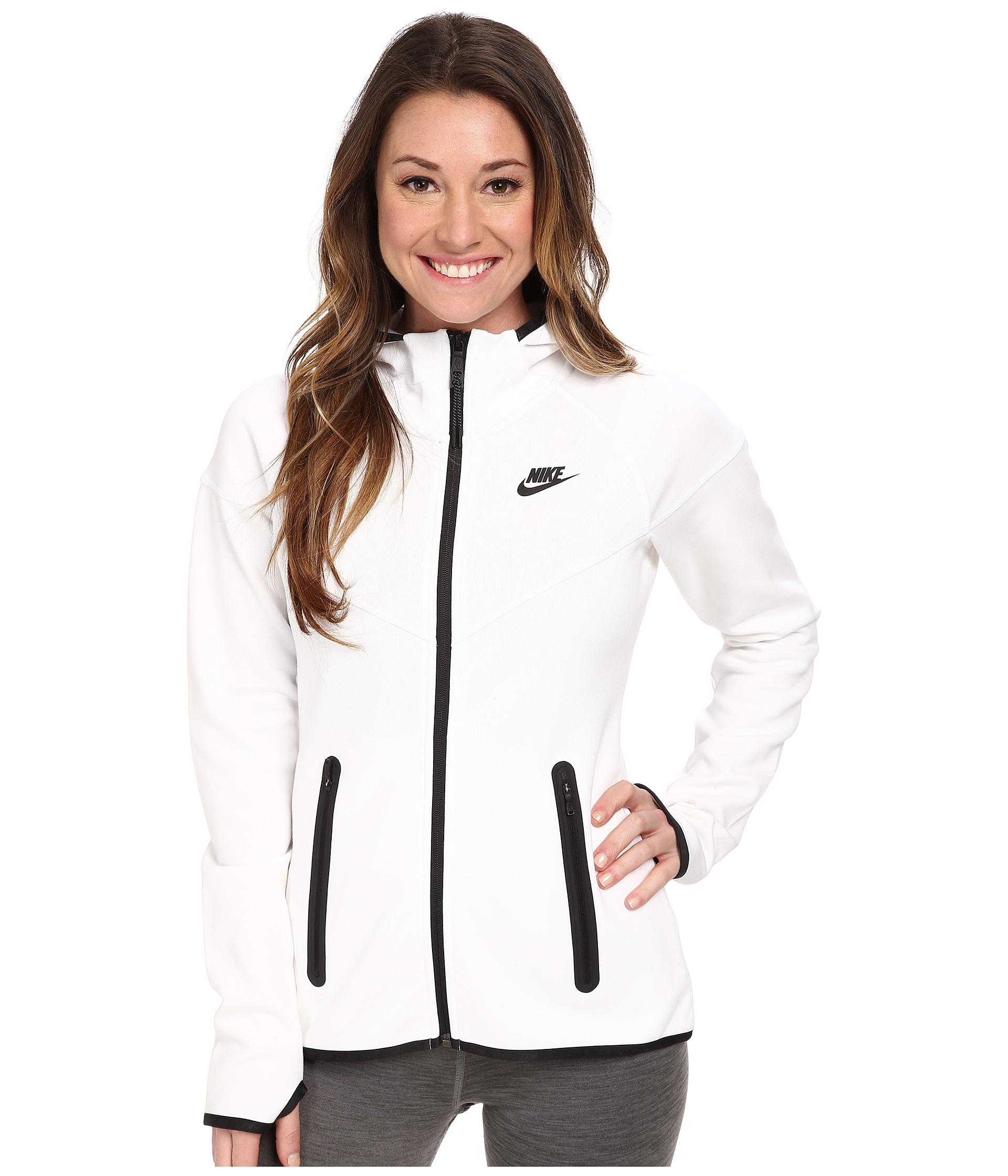 Lyst - Nike Tech Fleece Full-Zip Hoodie in White 26476512e