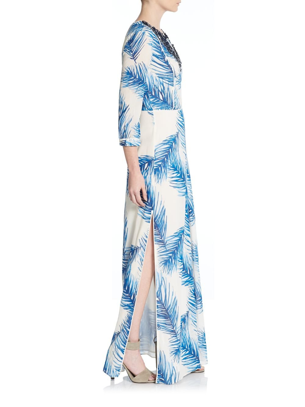 Tory burch Sequined Feather Print Maxi Dress in Blue | Lyst