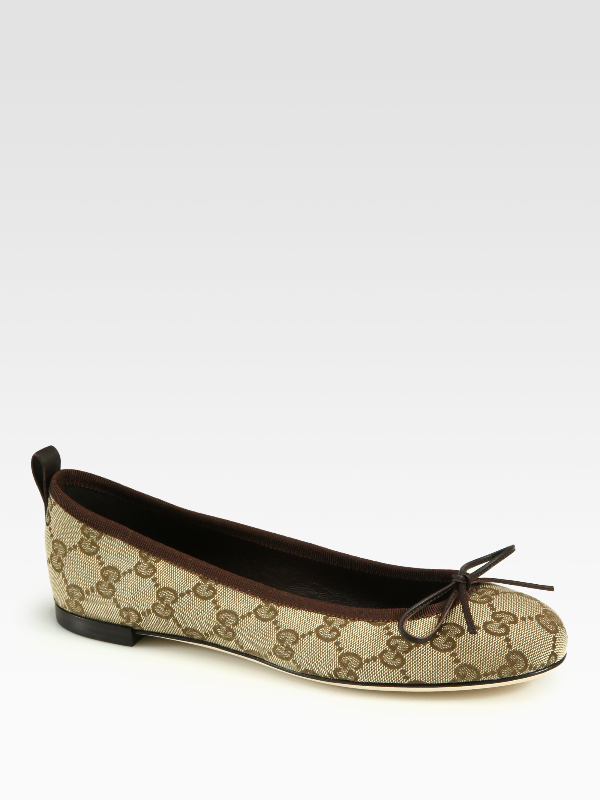 Gucci Ali Canvas \u0026 Leather Ballet Flats