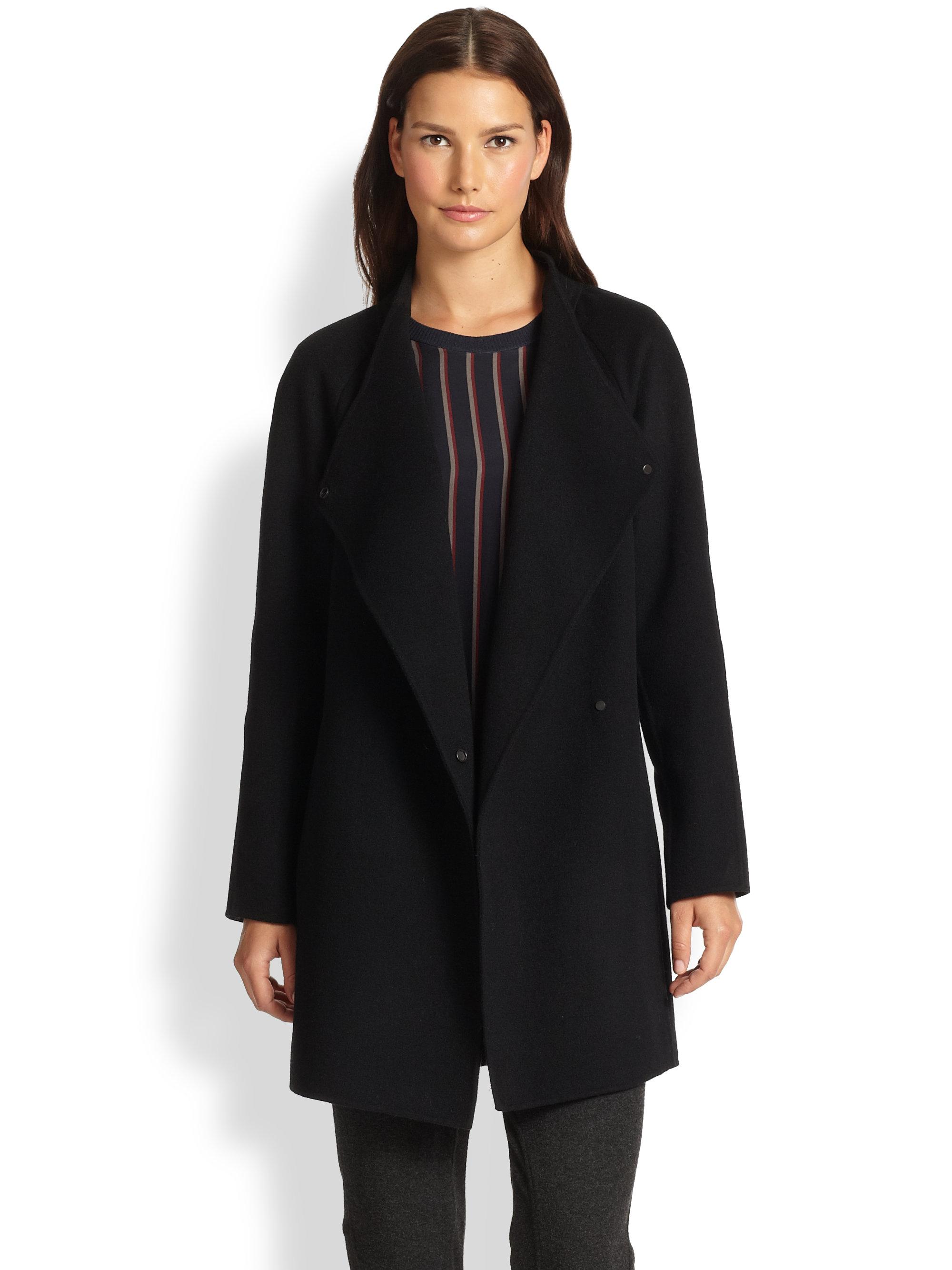 Lyst Vince Sweater Back Draped Coat In Black