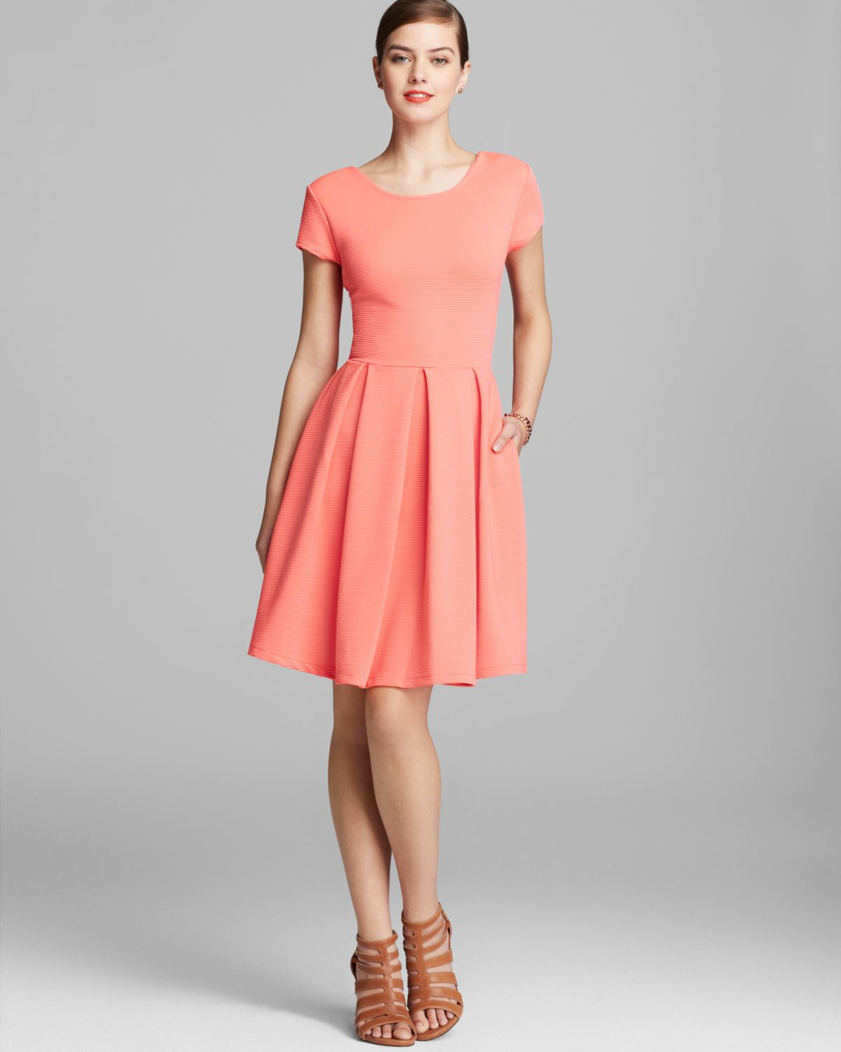 Lyst french connection dress natalie ottoman in pink for French connection shirt dress