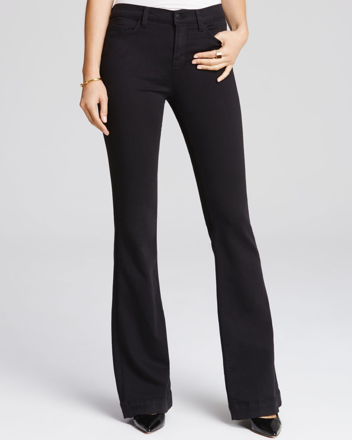 j brand maria flare jeans in seriously black in black seriously black lyst. Black Bedroom Furniture Sets. Home Design Ideas
