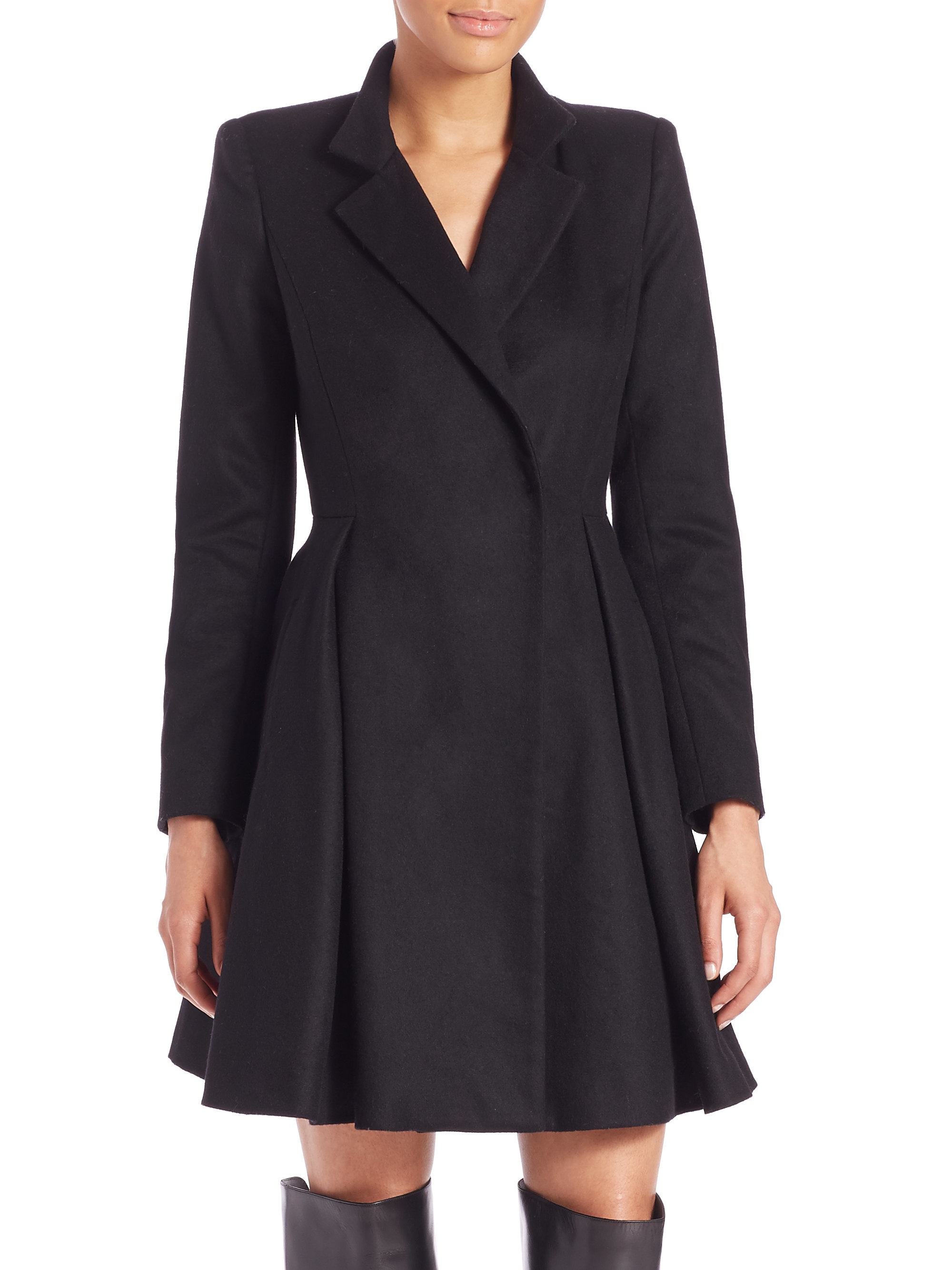 Alice Olivia Therese Midi Virgin Wool Blend A Line Coat