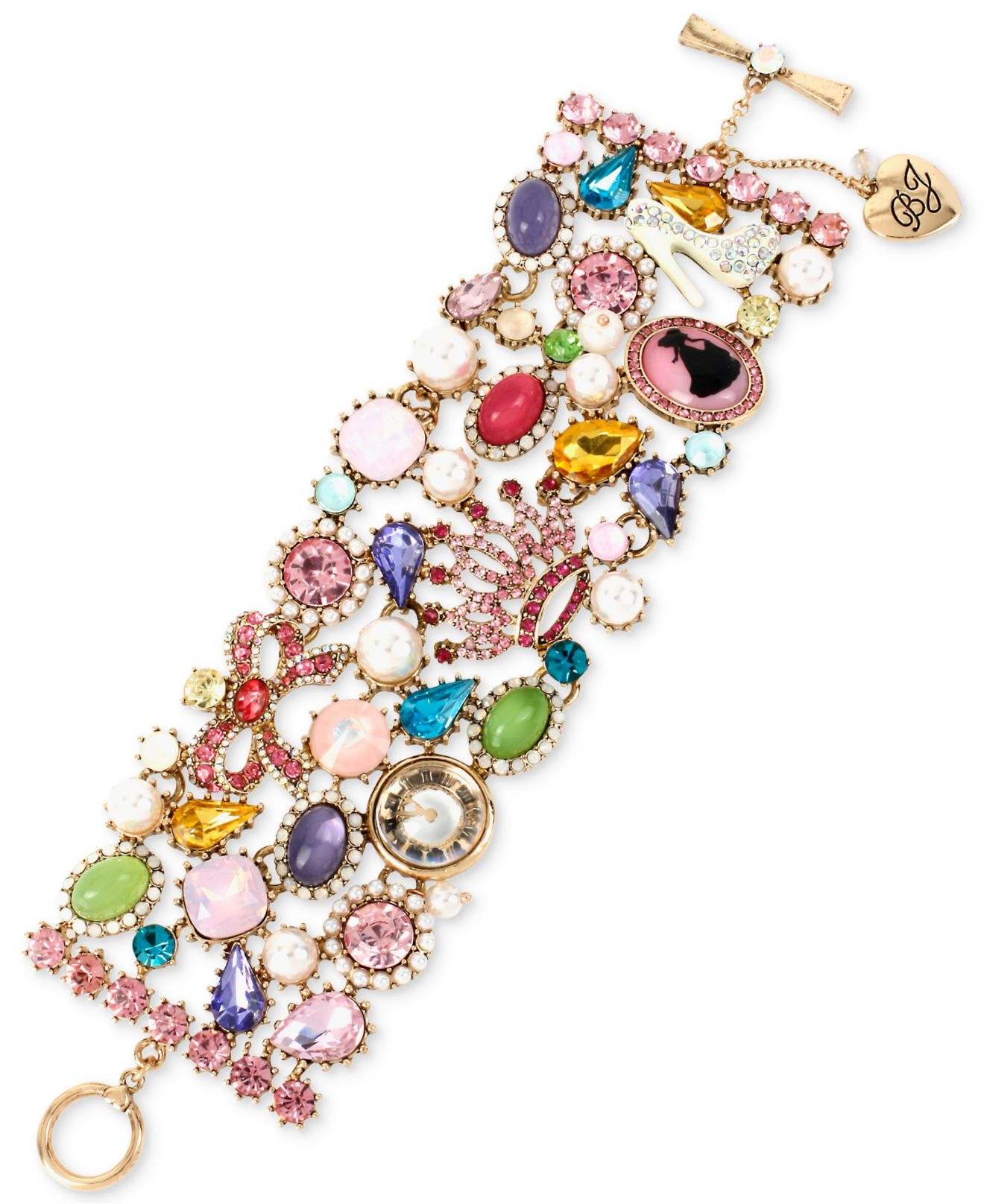 Picture Charms For Bracelets: Betsey Johnson Gold-tone Crystal Multi-stone And Charm