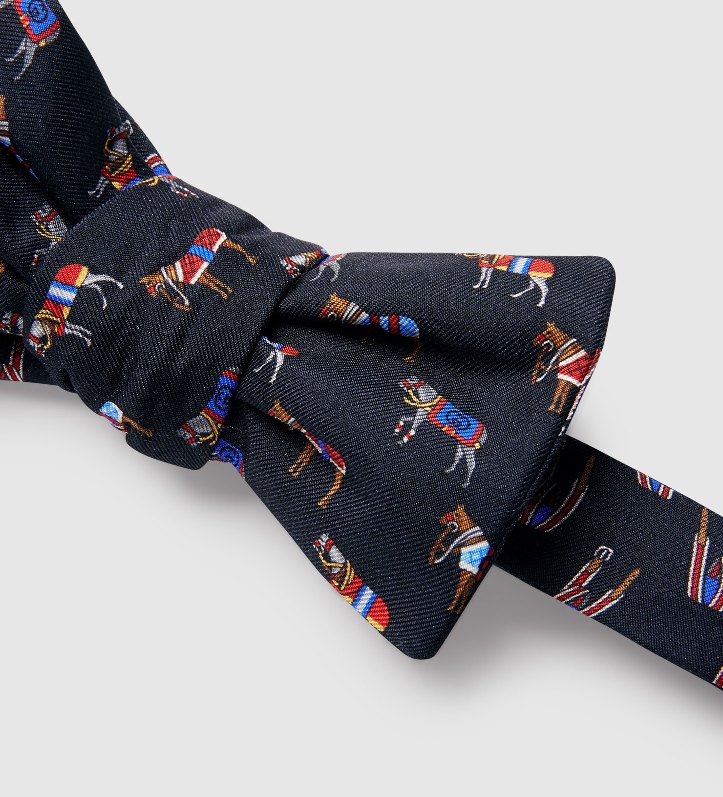 Gucci Horse Print Silk Bow Tie In Black For Men Lyst
