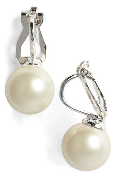 Lyst Lauren By Ralph Lauren Faux Pearl Clip Earrings In