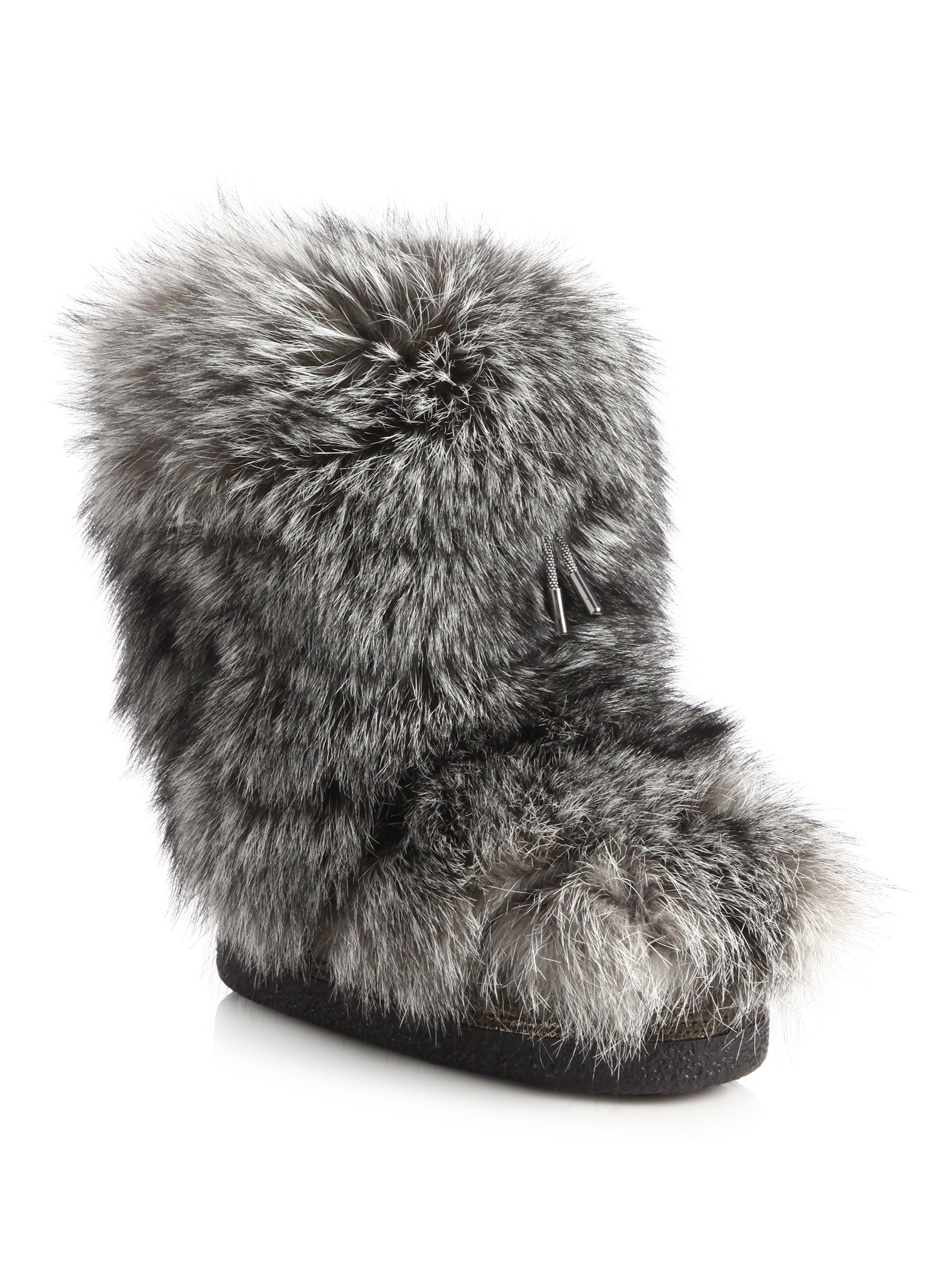 brunello cucinelli fox fur moon boots in grey gray lyst