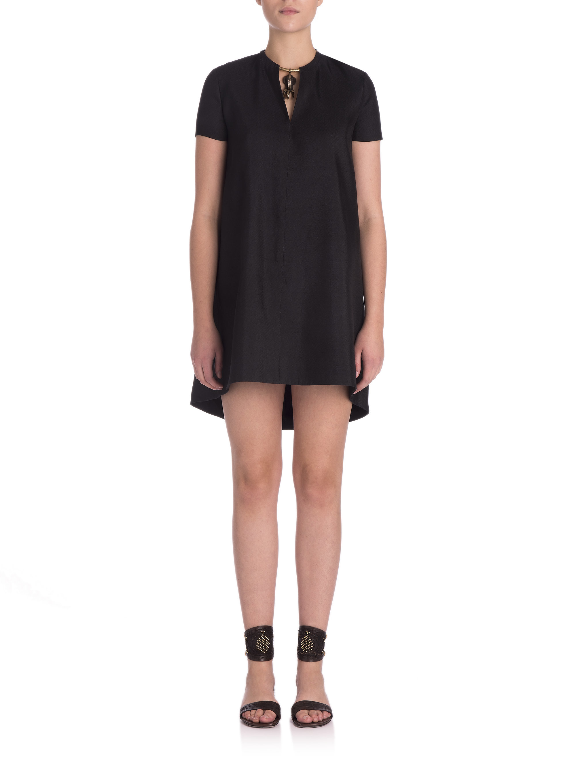 valentino embellished silk dress in black lyst