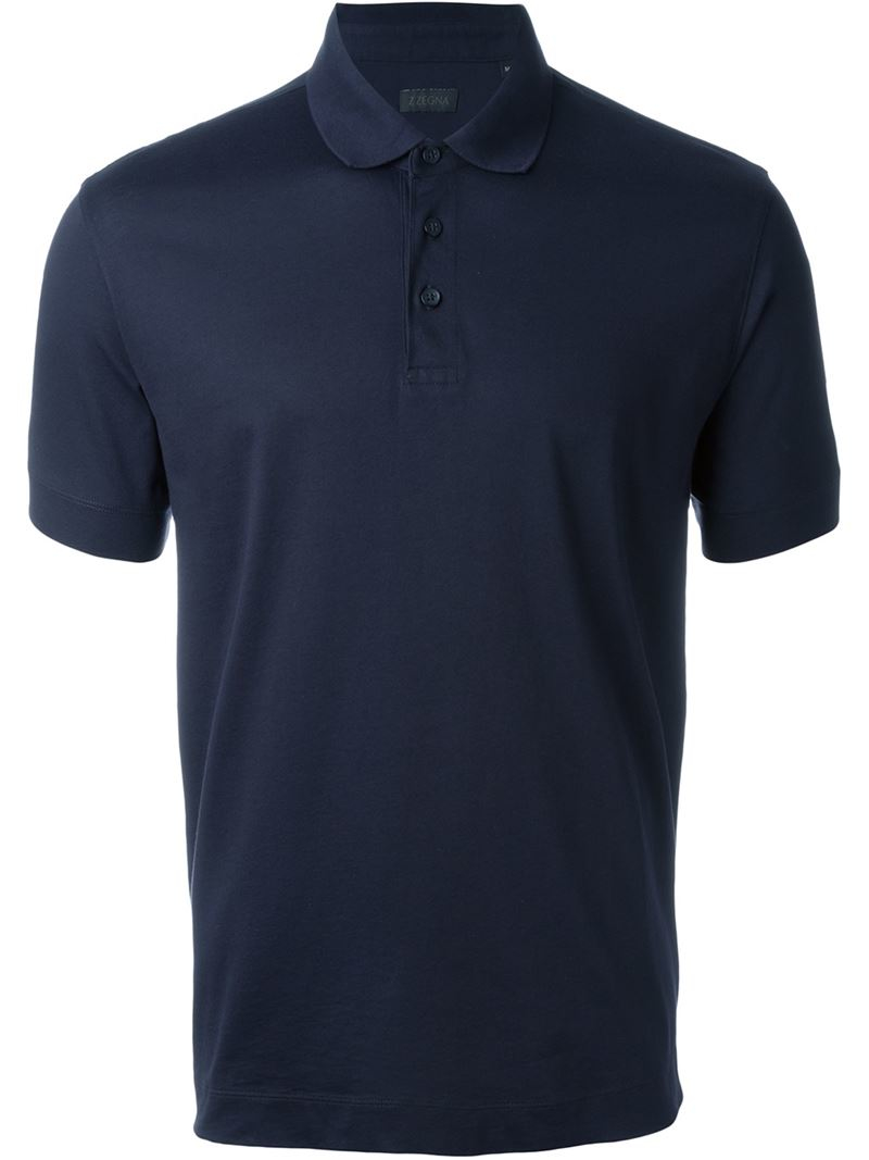 Lyst z zegna classic polo shirt in blue for men for Zegna polo shirts sale