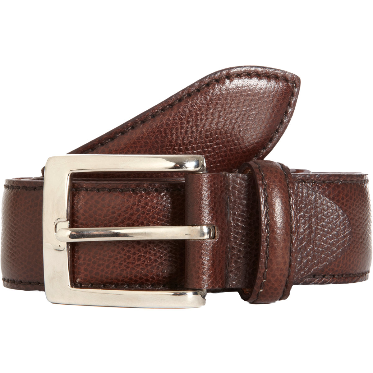 battistoni grained dress belt in brown for lyst