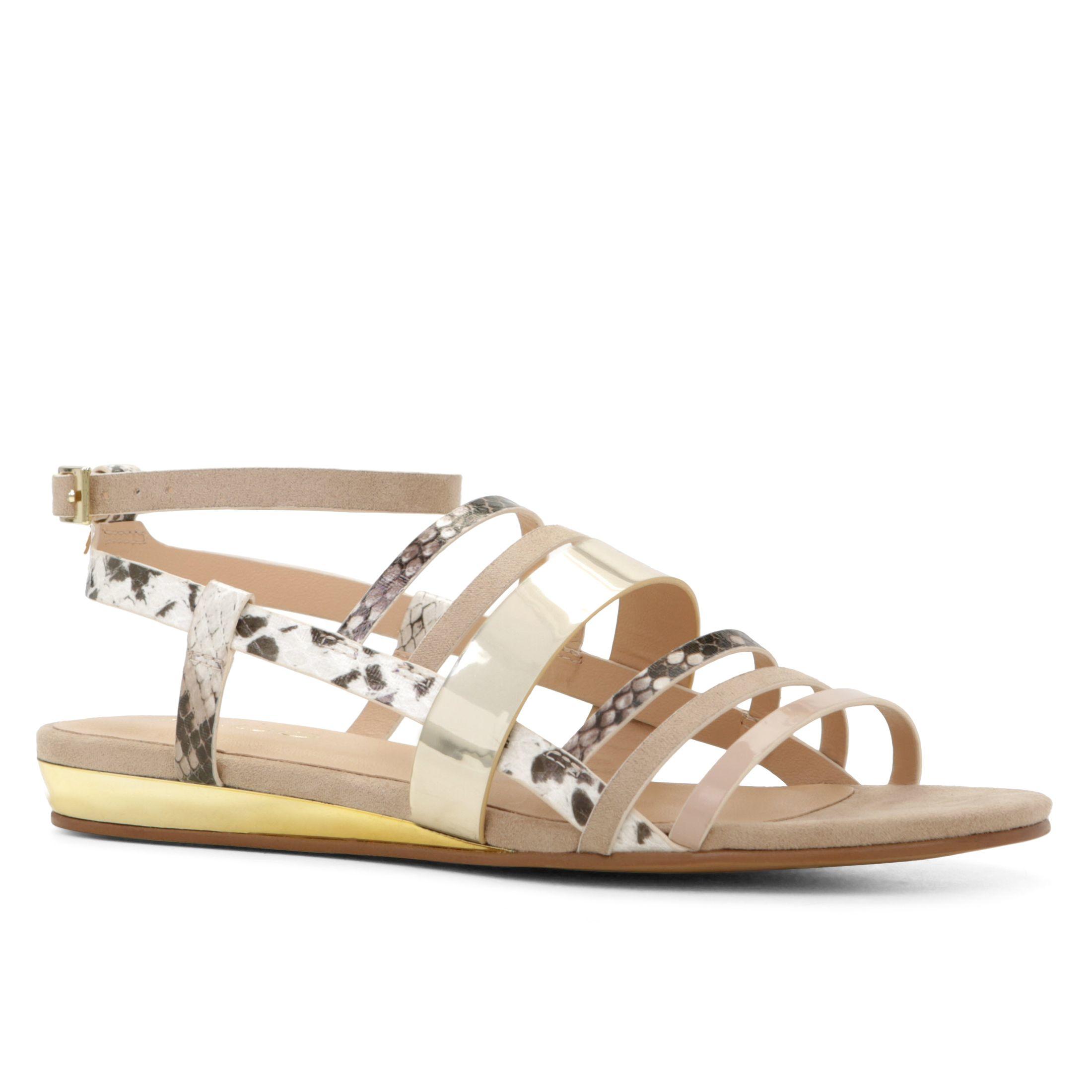 Aldo Alisabeth Strappy Flat Sandals In Beige (Bone)