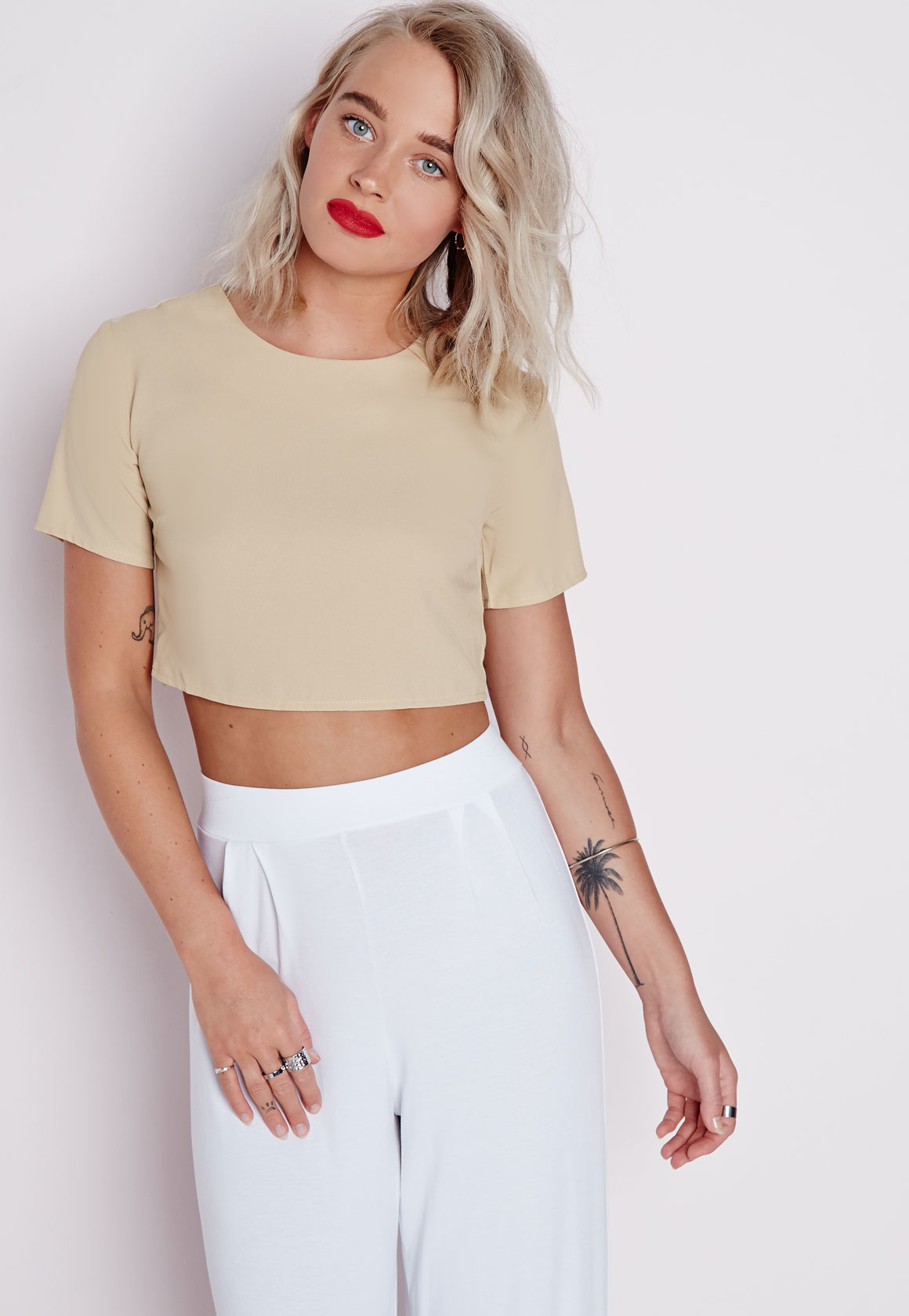 745be28d4ccb7 Missguided Capped Sleeve Crop Top Taupe in Natural - Lyst
