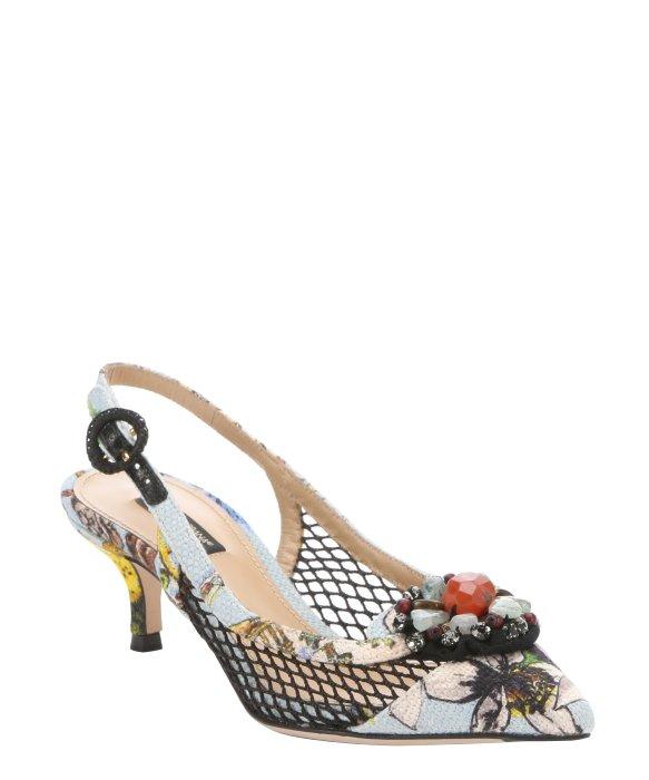 890cbafbfdd Lyst Dolce Gabbana Light Blue Canvas Stone Detail Kitten Heel. Women S Shoes  ...