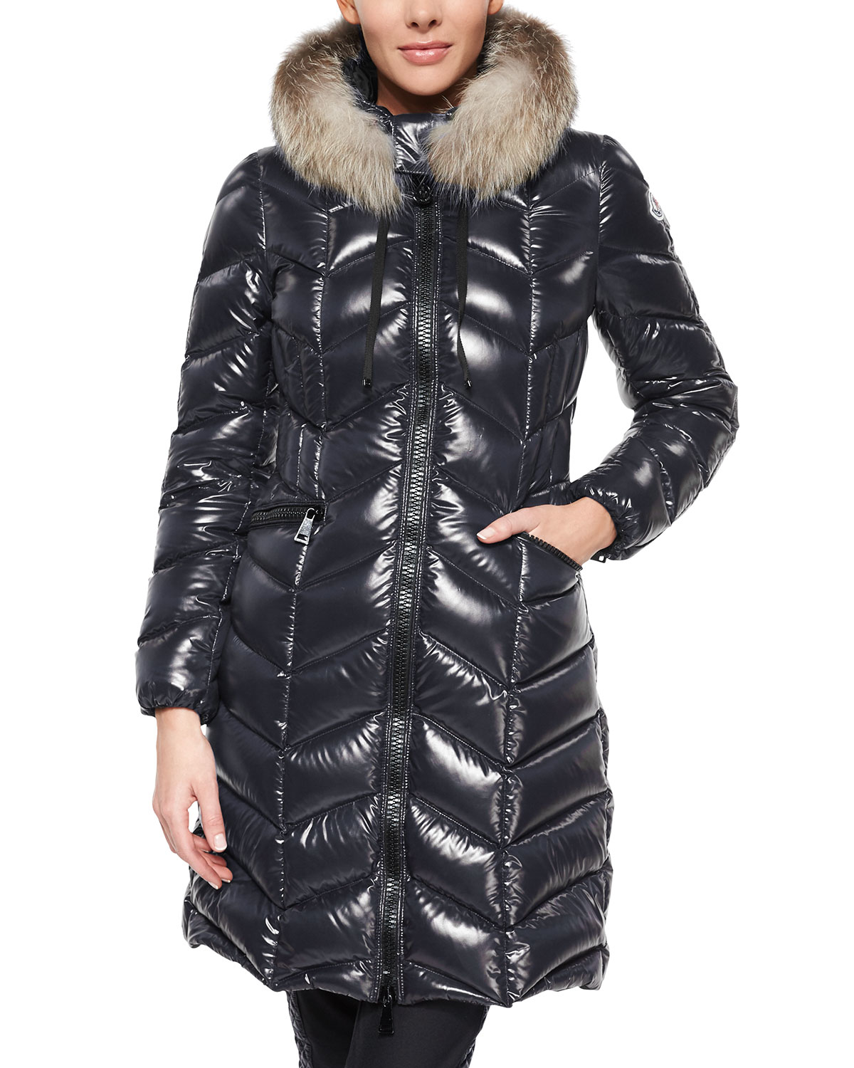 moncler bellette fur trim puffer coat in black lyst. Black Bedroom Furniture Sets. Home Design Ideas