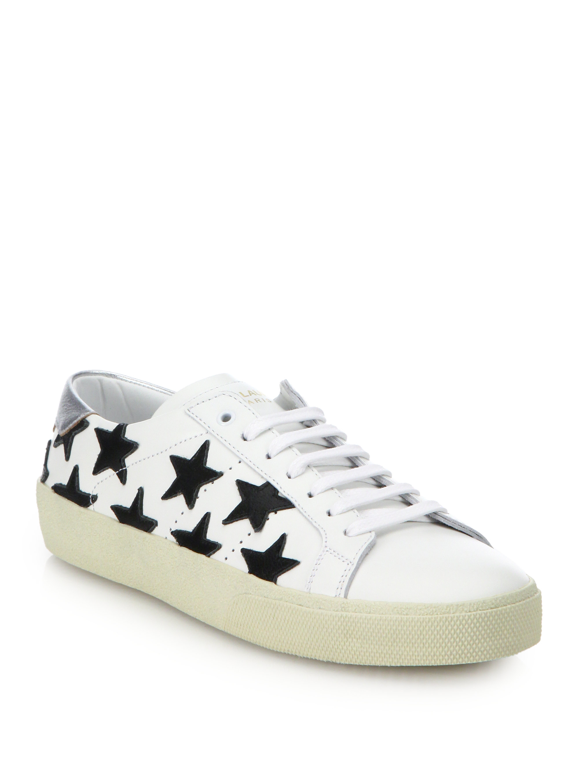 saint laurent star leather lace up sneakers in white lyst. Black Bedroom Furniture Sets. Home Design Ideas