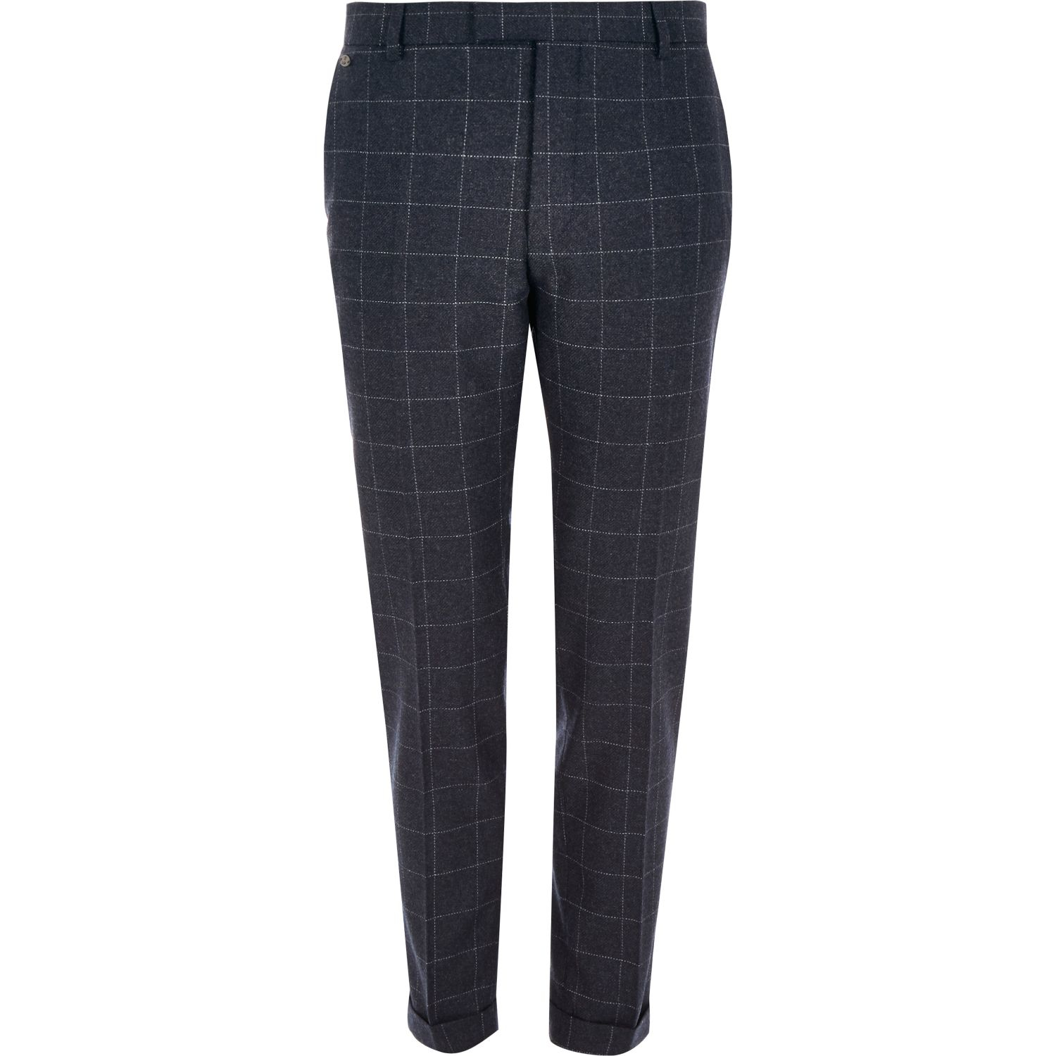fbd799e0561 River Island Navy Check Skinny Fit Cropped Trousers in Blue for Men ...