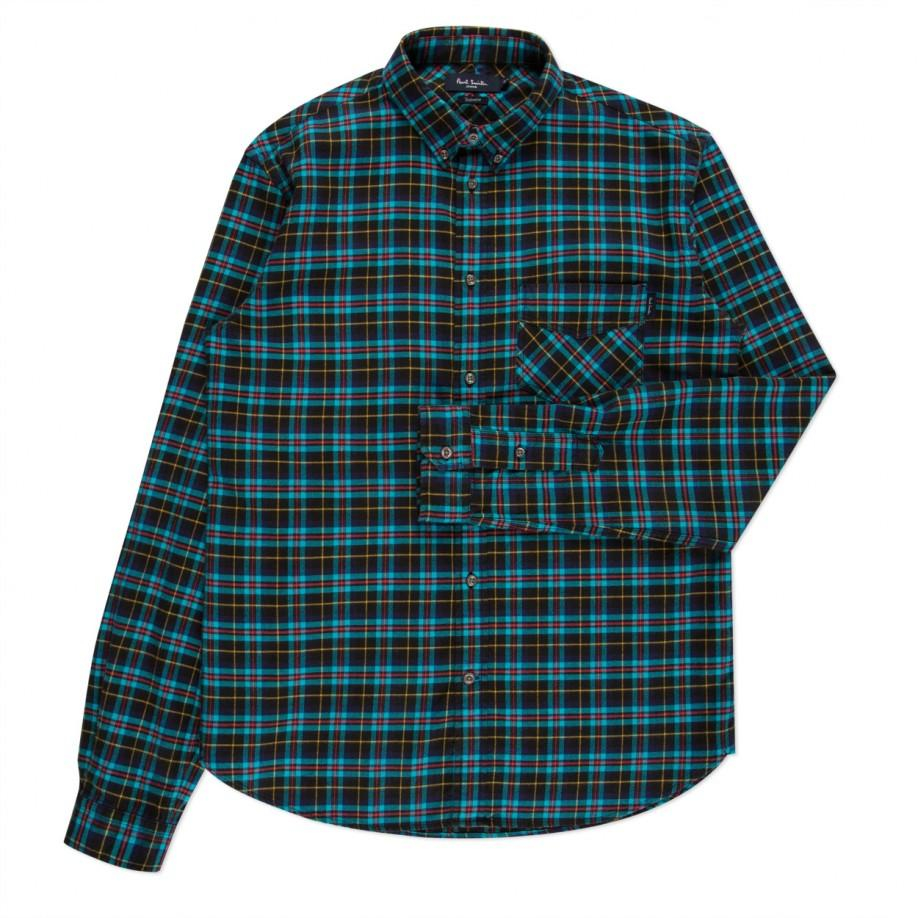 paul smith check print flannel shirt in green for men turquoise lyst. Black Bedroom Furniture Sets. Home Design Ideas