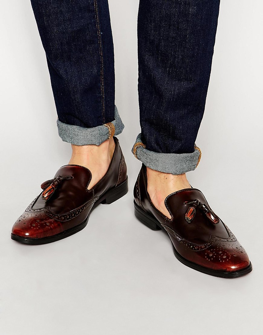 ASOS Brogue Loafers In Tan Leather With Tassel in Brown for