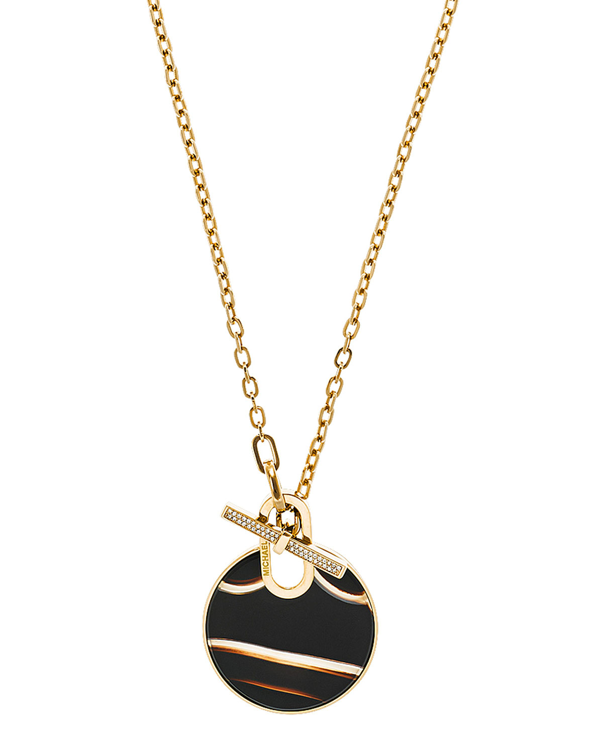 Lyst michael kors agate city disc pendant necklace in for Agate grenoble