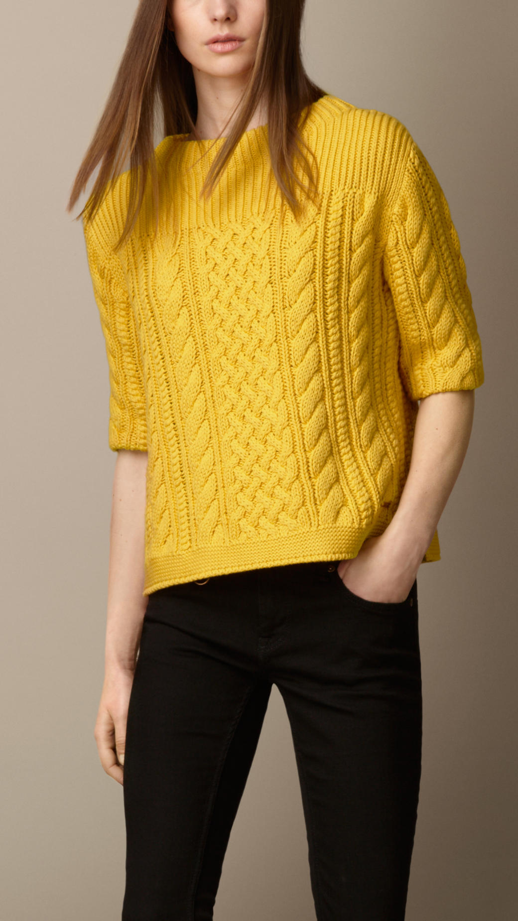 Sweater Knit : Lyst burberry cotton blend cable knit sweater in yellow