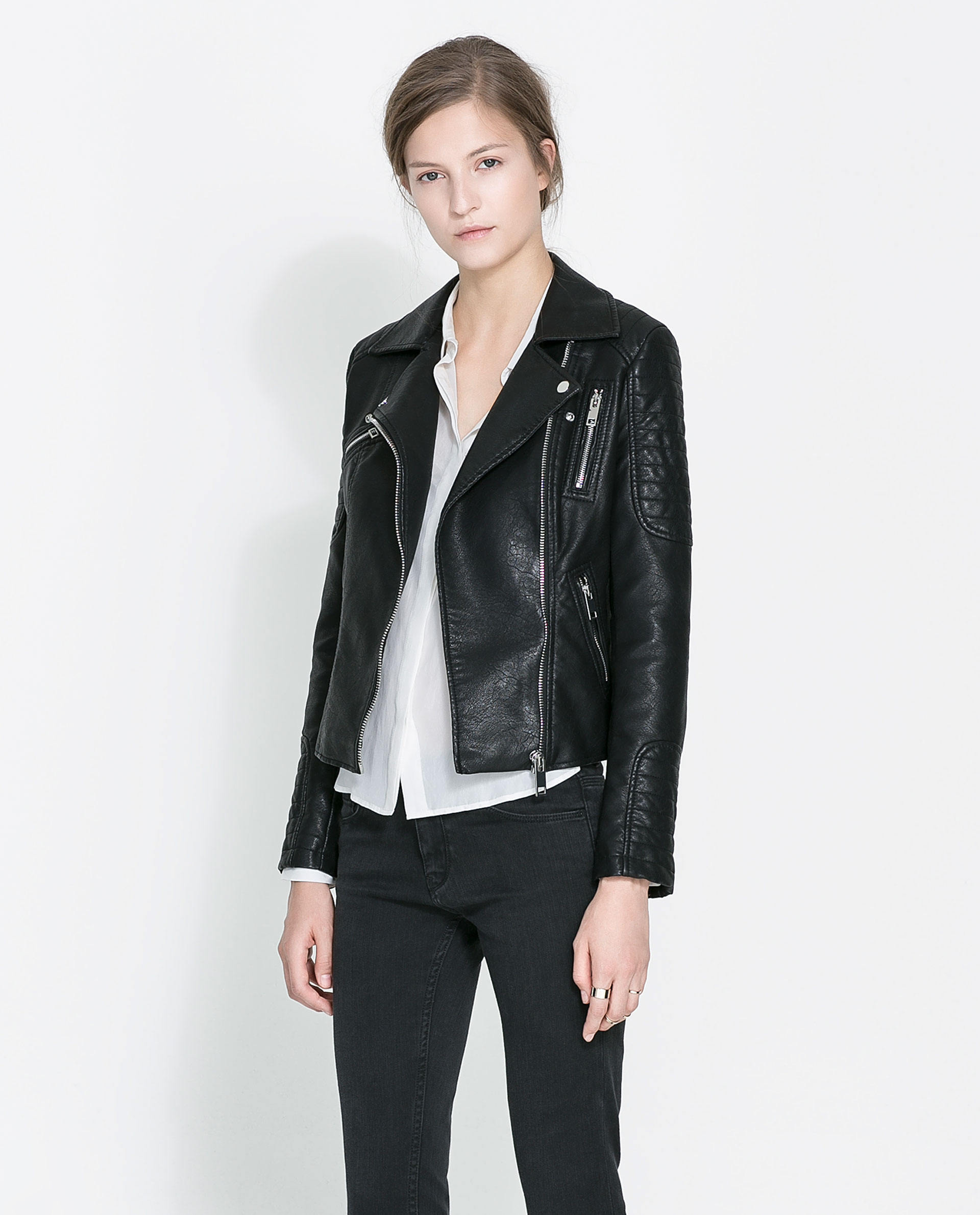 zara motorcycle jacket with zips in black lyst. Black Bedroom Furniture Sets. Home Design Ideas