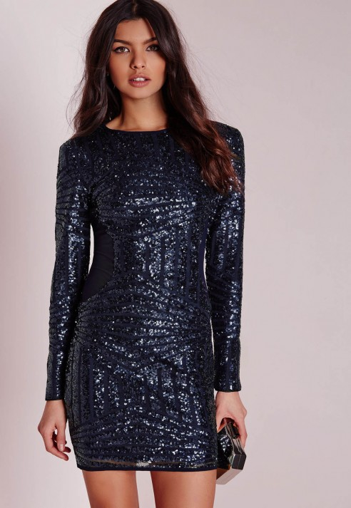 Missguided Long Sleeve Sequin Bodycon Dress Navy in Blue - Lyst
