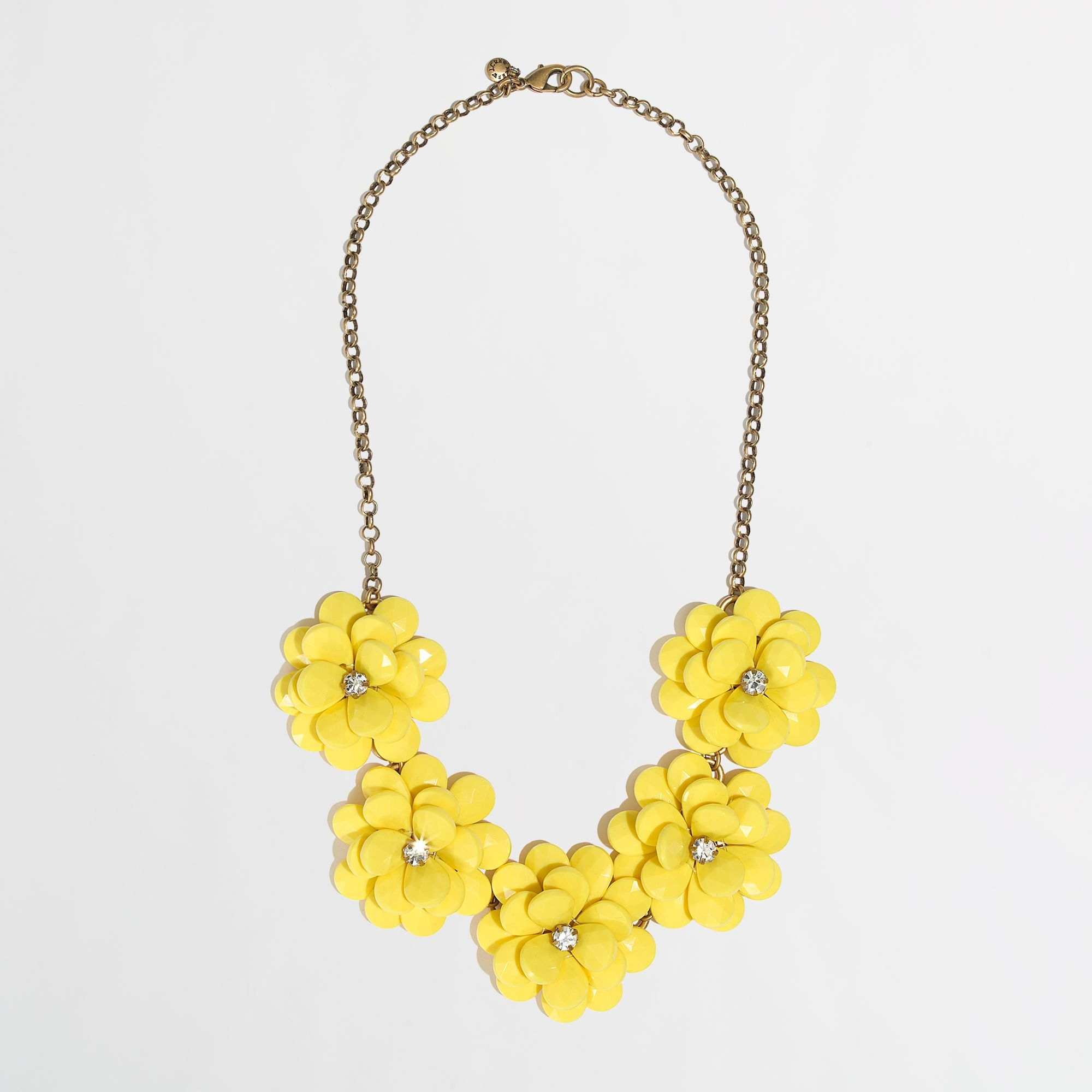 db3ad3bbd93744 J.Crew Factory Crystal Floral Burst Necklace in Yellow - Lyst