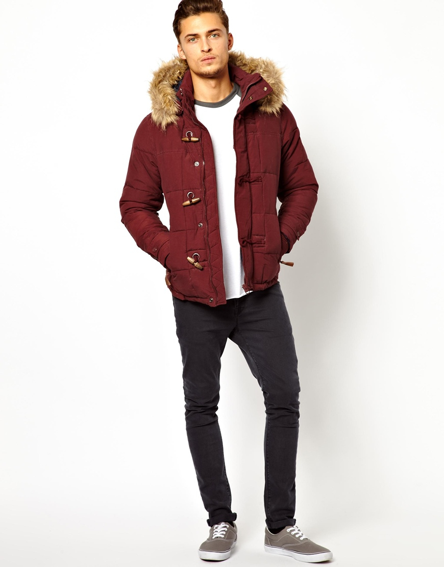 Pull&bear Parka in Red for Men | Lyst