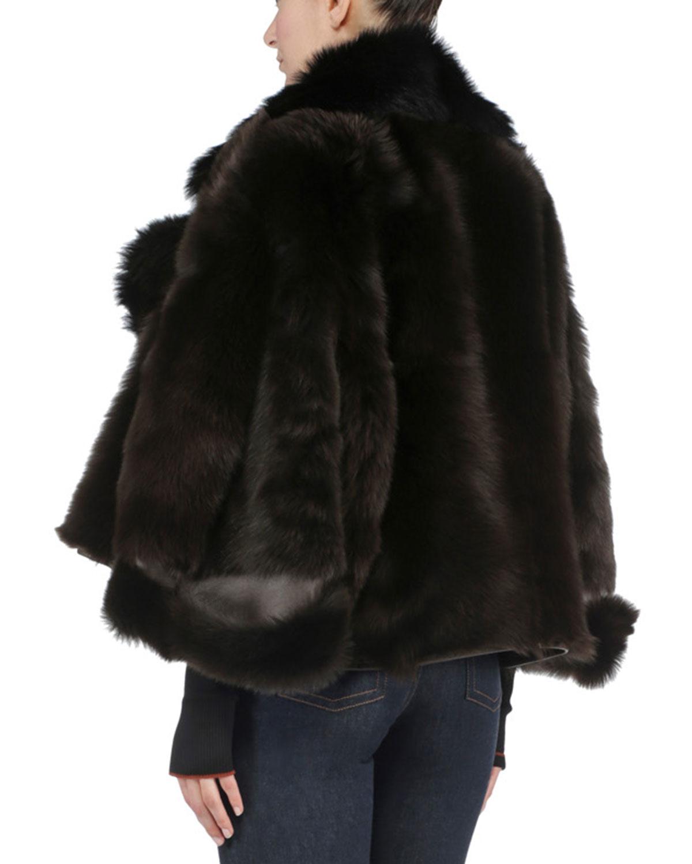 Lyst Fendi Bicolor Reversible Shearling Fur Jacket In Brown