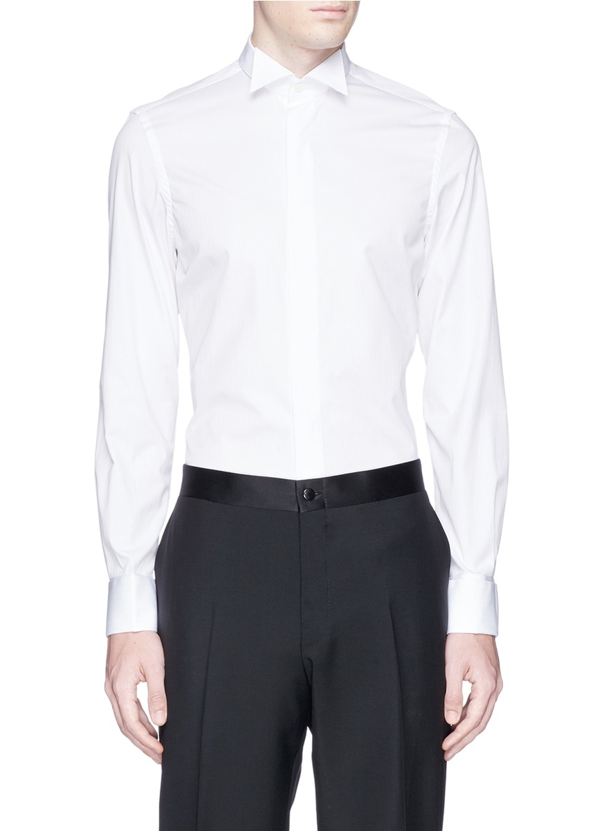 Lyst canali cotton logo embroidery tuxedo shirt in white 100 cotton tuxedo shirt