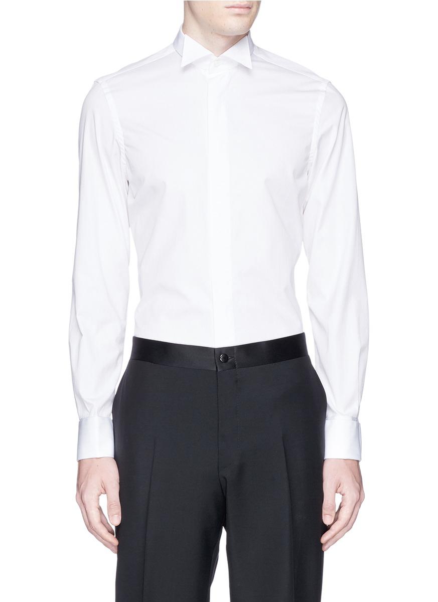 Lyst canali cotton logo embroidery tuxedo shirt in white 100 cotton tuxedo shirt