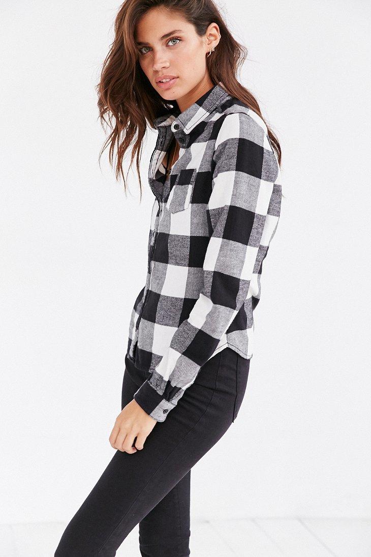 Bdg Katie Flannel Button Down Shirt In Black Lyst