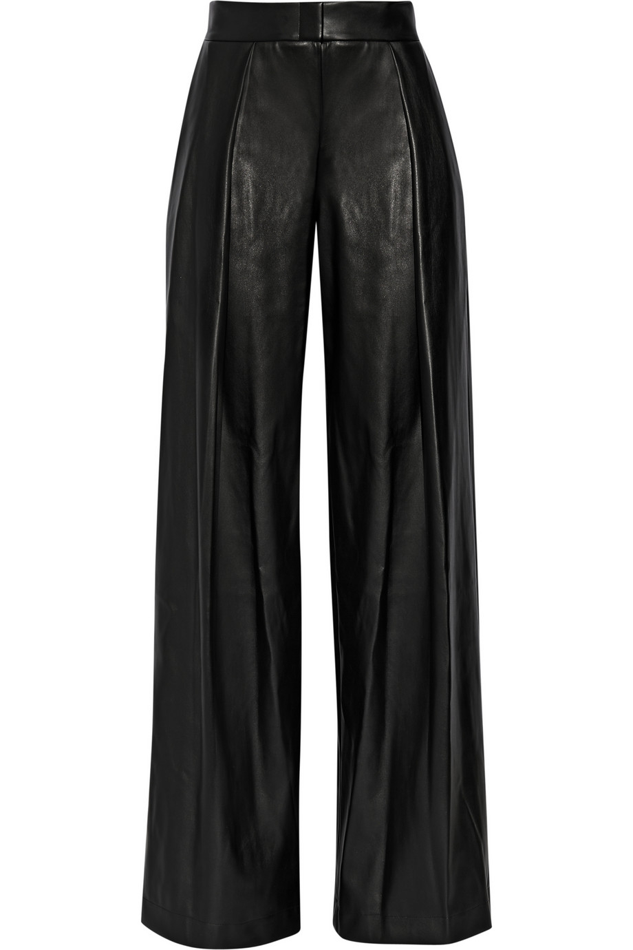 Lyst Dkny Faux Leather Wide Leg Pants In Black