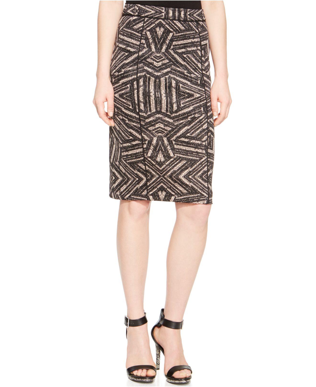 calvin klein printed scuba pencil skirt in black black