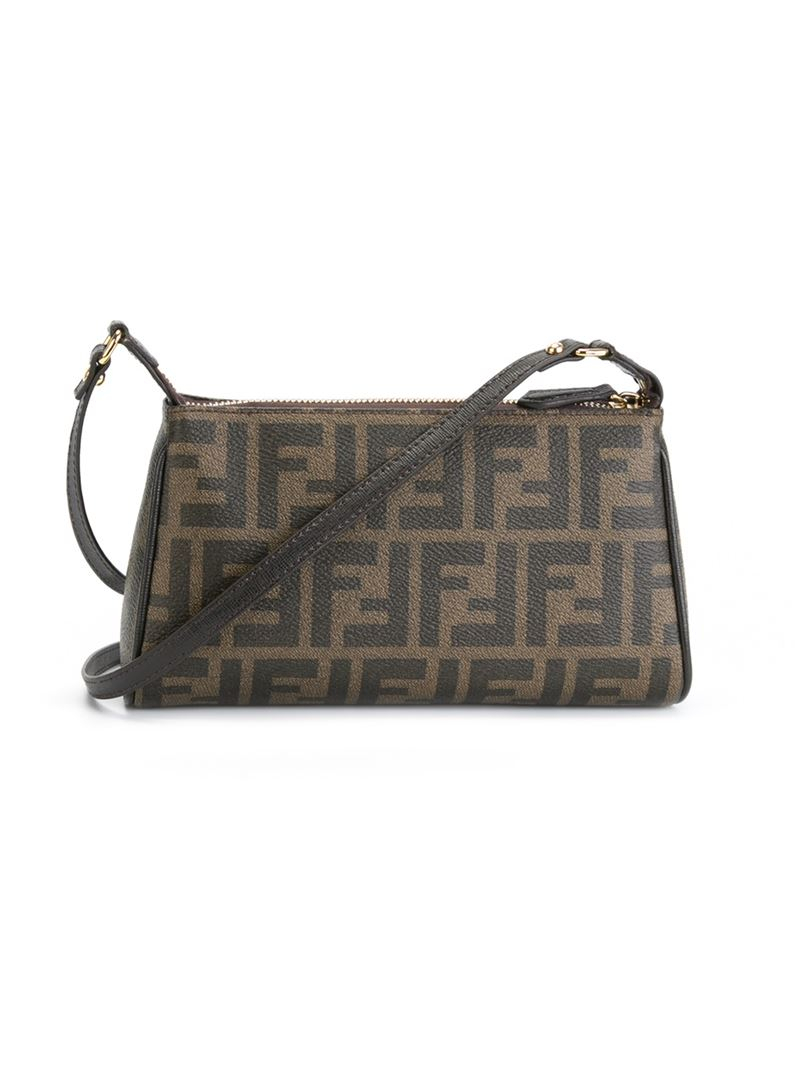 736dee9dabd5 Lyst - Fendi FF Logo Shoulder Bag in Brown