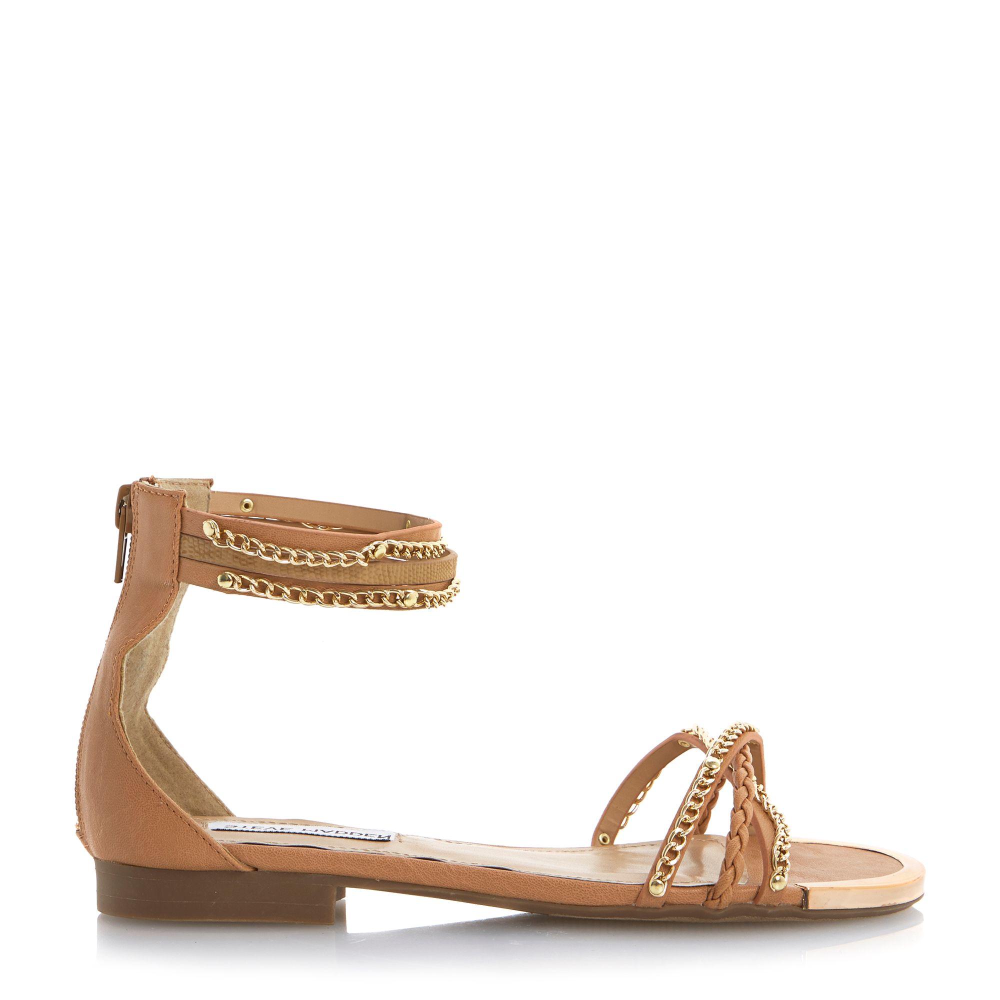 steve madden lawal flat chain cuff sandals in brown tan lyst. Black Bedroom Furniture Sets. Home Design Ideas