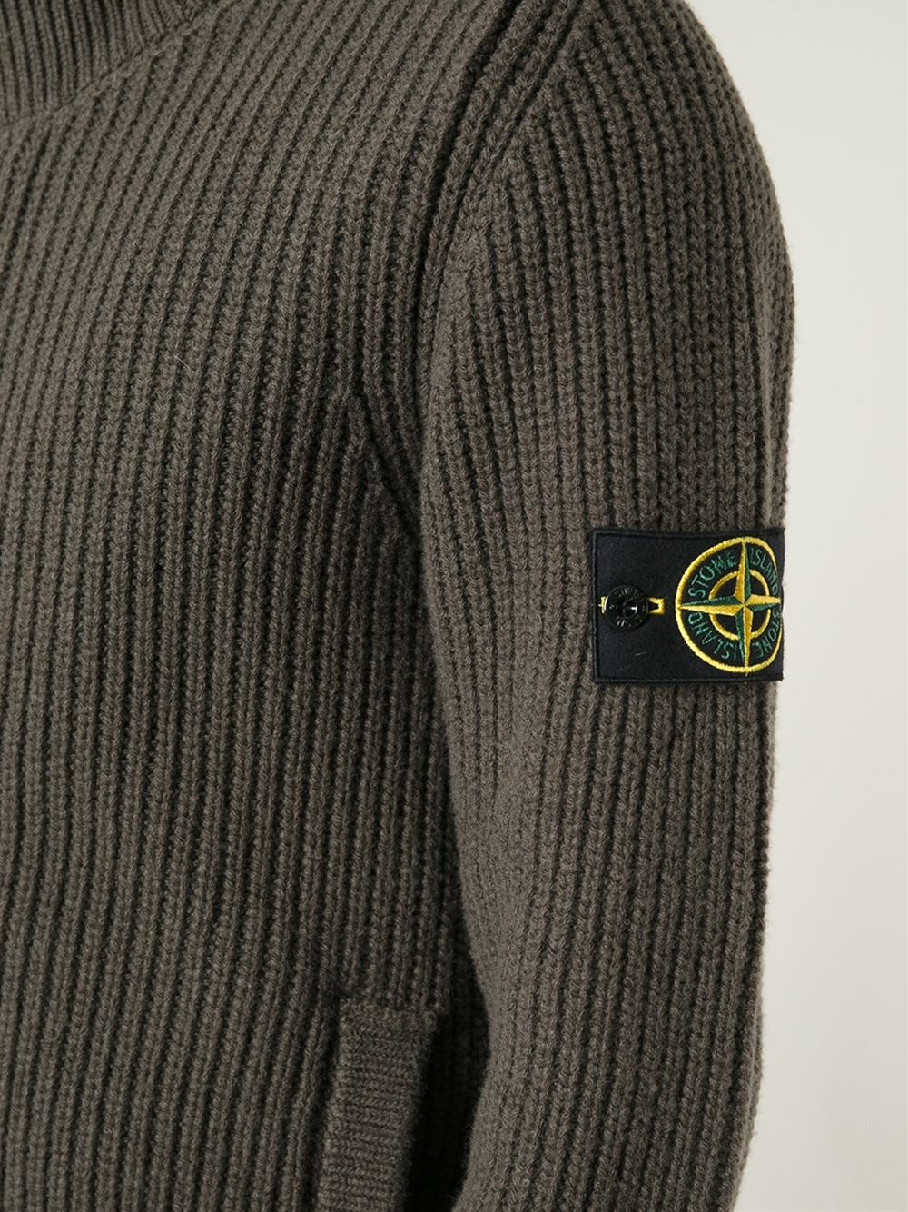 Lyst Stone Island Ribbed Knit Cardigan In Brown For Men