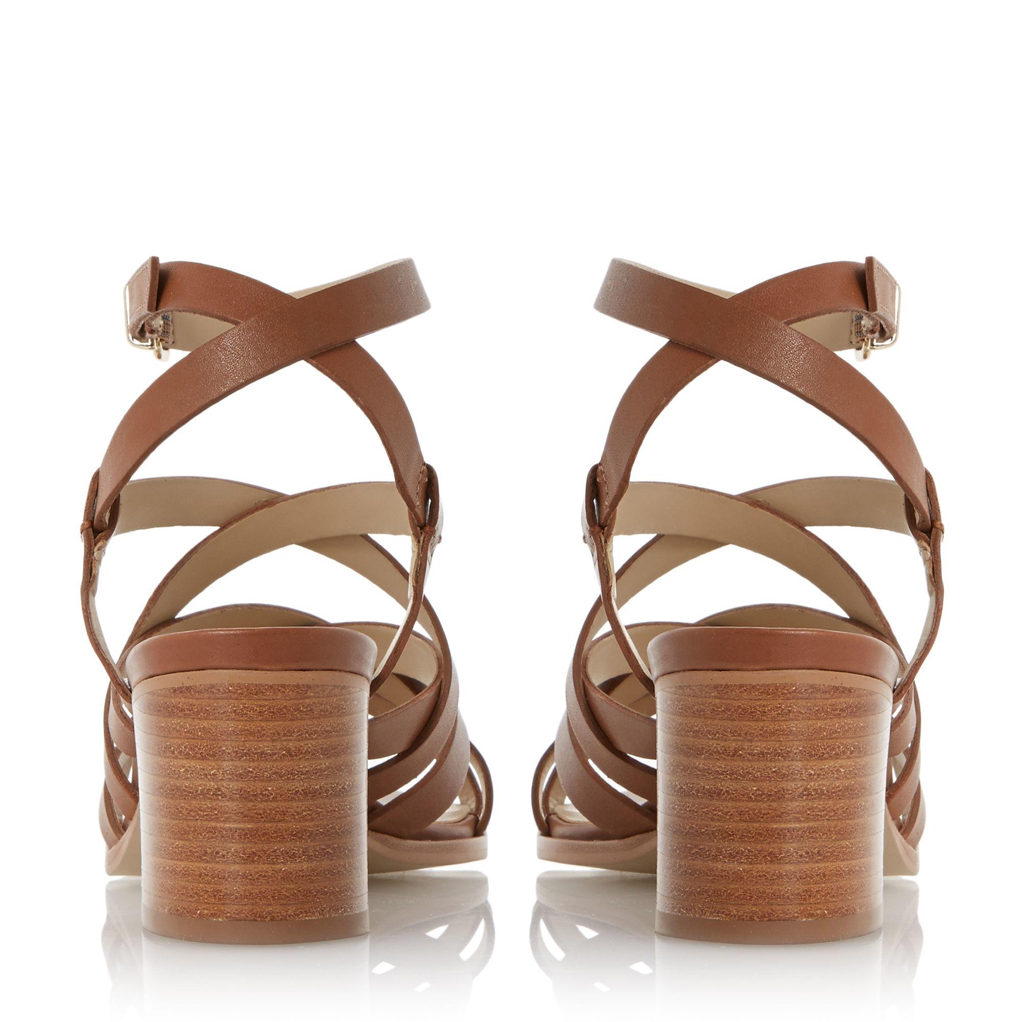 Dune Leather Iliana Strappy Block Heel Sandals In Brown Lyst