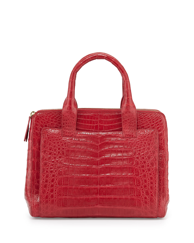 Nancy gonzalez small modern crocodile tote bag in red lyst for Nancy gonzalez crocodile tote