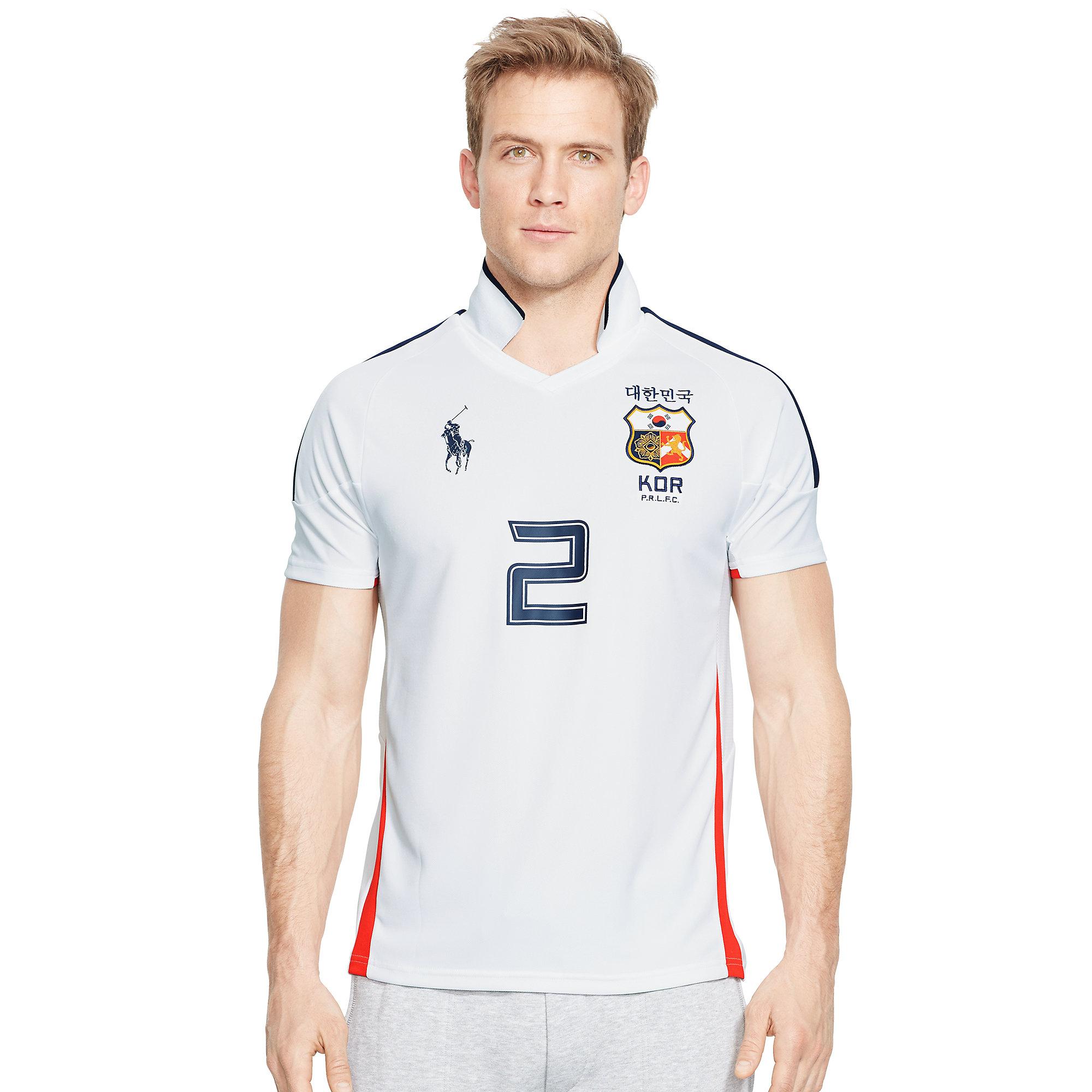 Ralph lauren korea jersey polo shirt in white for men lyst for Ralph lauren polo jersey shirt