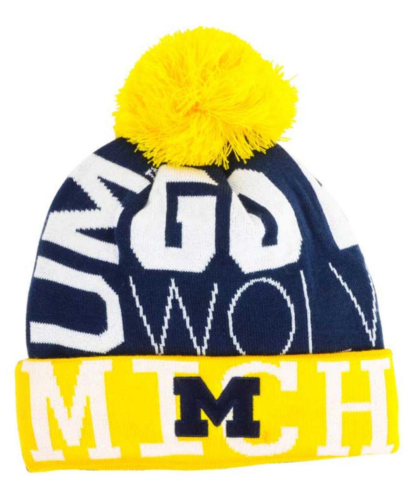 01861ac940b Lyst - adidas Michigan Wolverines Cuffed Pom Knit Hat in Metallic ...