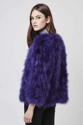 Topshop Marabou Feather Coat In Blue Lyst