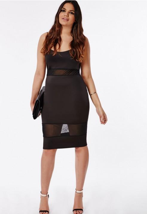Missguided Plus Size Mesh Panel Bodycon Midi Dress In Black Lyst