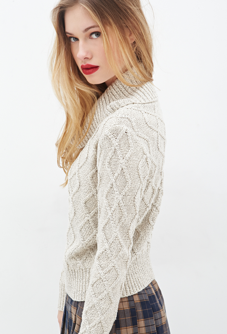 Forever 21 Ribbed Cowl Neck Sweater in Natural | Lyst