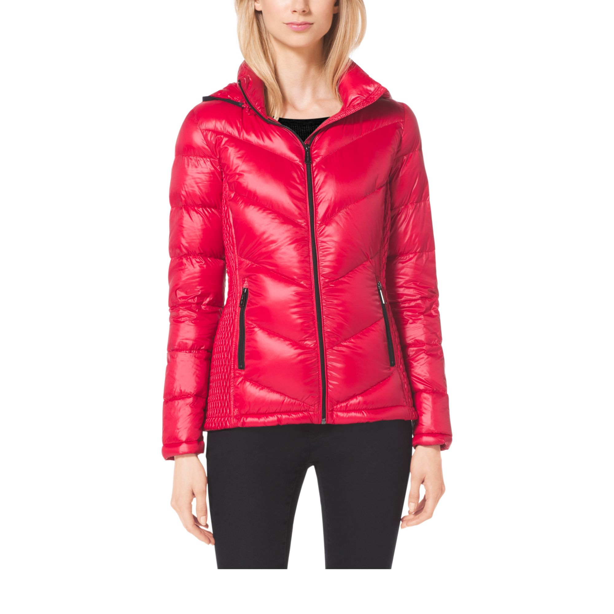 michael kors quilted nylon jacket in red lyst. Black Bedroom Furniture Sets. Home Design Ideas